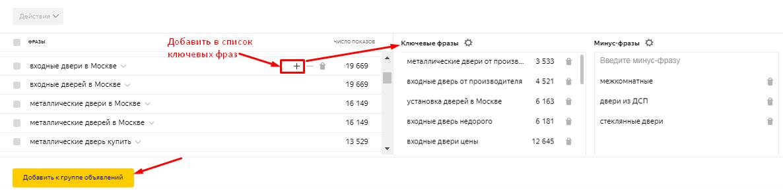 Добавление фраз в список ключевых слов в Яндекс.Директе