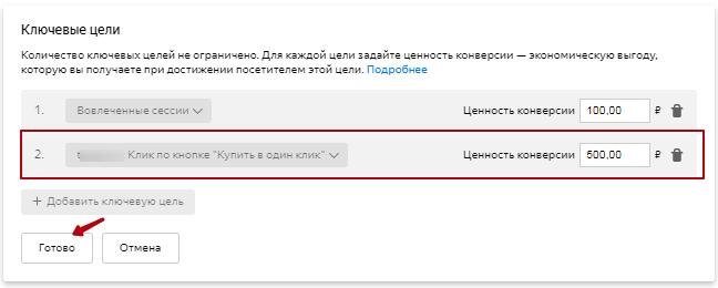 Настройка ключевых целей в Яндекс.Директе