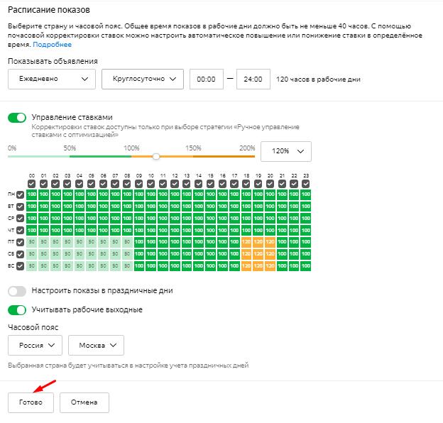 Настройка расписания показов в Яндекс.Директе