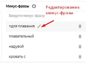 Редактирование минус-фраз в Яндекс.Директе