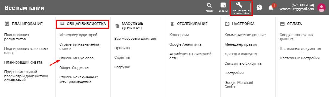 Списки минус-слов в Google Ads