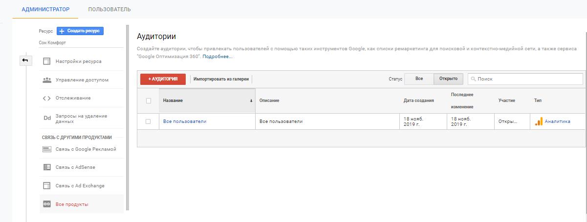 Добавление новой аудитории в Google Analytics
