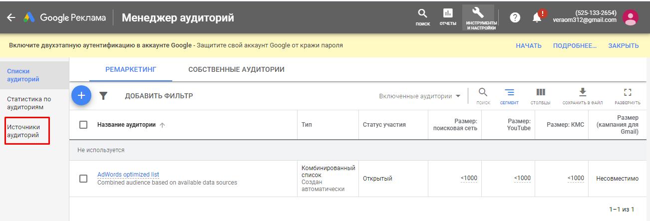 Источники аудиторий в Google Рекламе