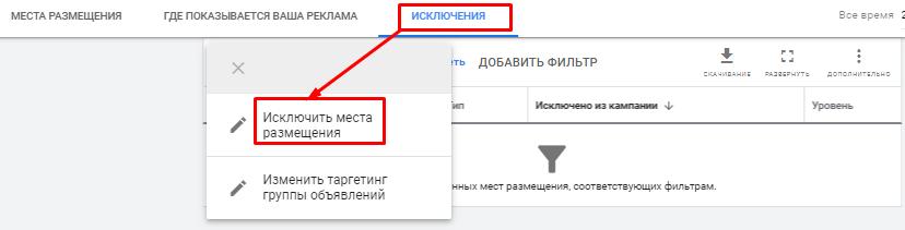 Исключение мест размещений в Google Ads