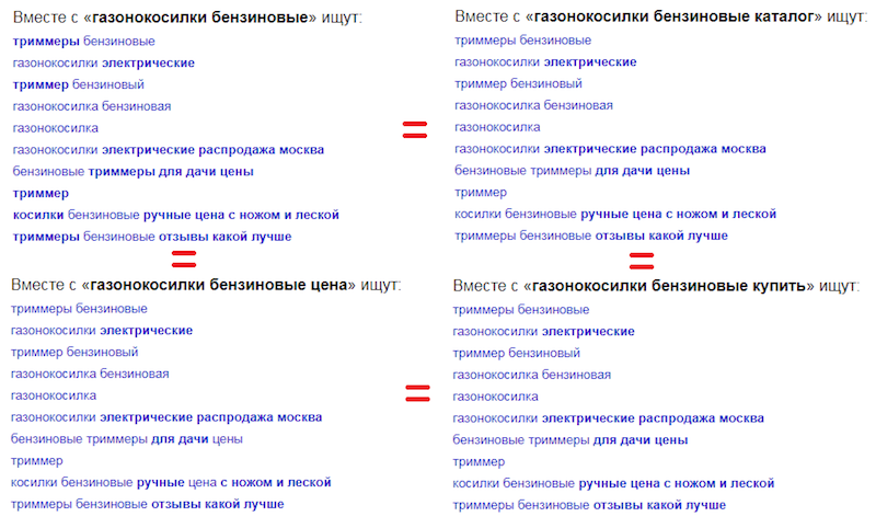 Пример выдачи поисковых рекомендаций в Яндексе по фразе газонокосилки бензиновые