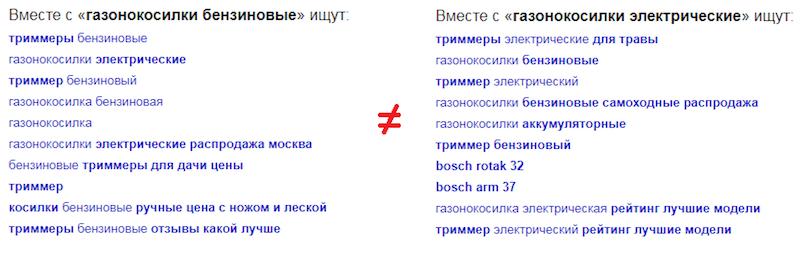 Пример выдачи поисковых рекомендаций в Яндексе по фразе газонокосилки электрические