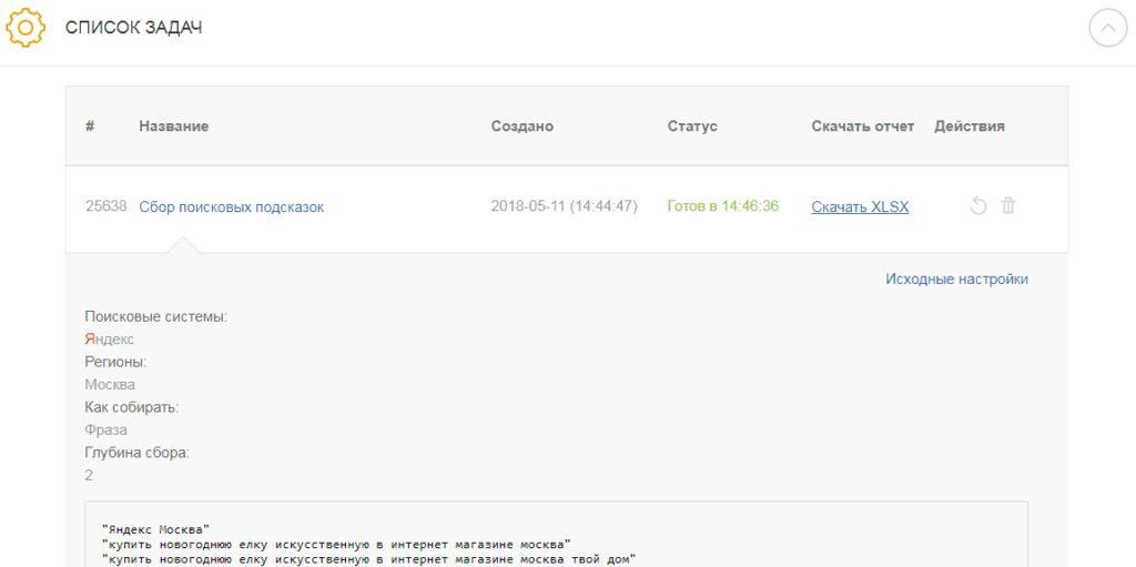Отчет о сборе поисковых подсказок в Click.ru