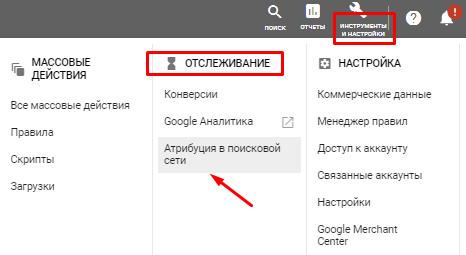 Настройка атрибуции в поисковой сети