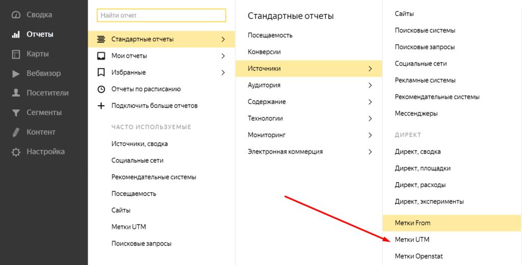 Открываем отчет по UTM-меткам в Яндекс.Метрике