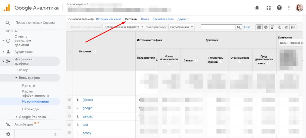 Отчет по источникам трафика в Google Analytics