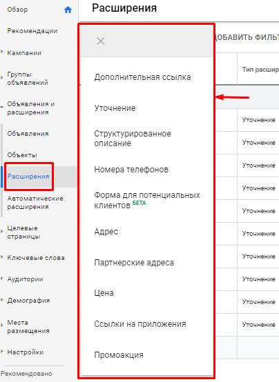 Расширения объявлений в Google Ads [детальный обзор]