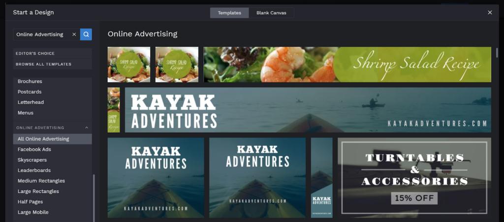 Выбор шаблона для онлайн-рекламы в Befunky