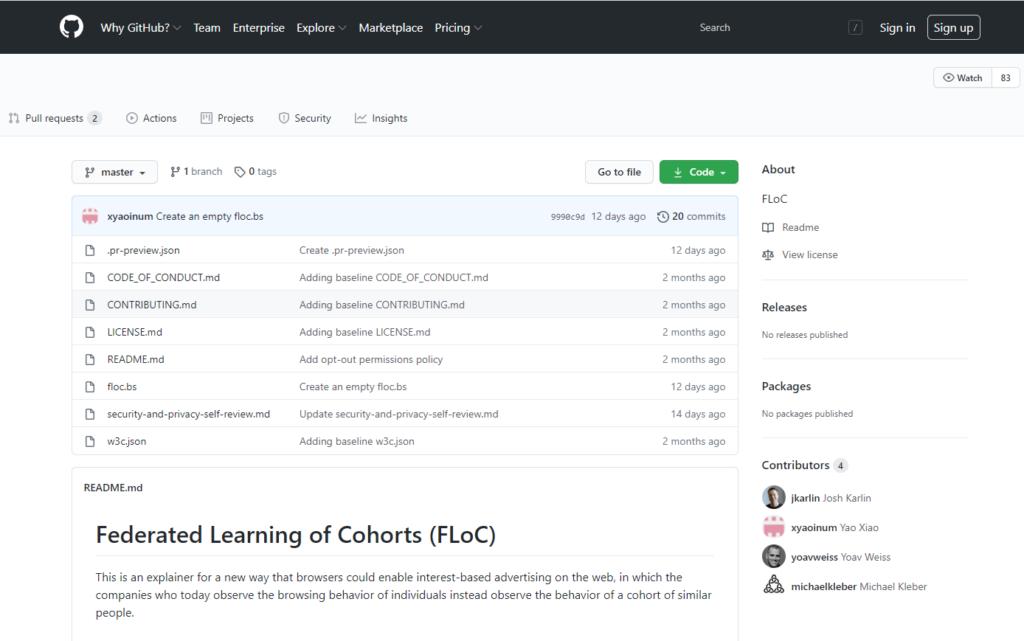 Предложение FLoC на GitHub