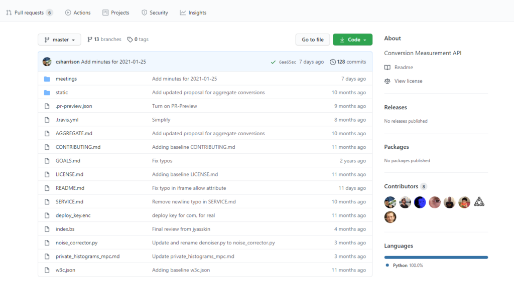 Предложение API на уровне событий на GitHub