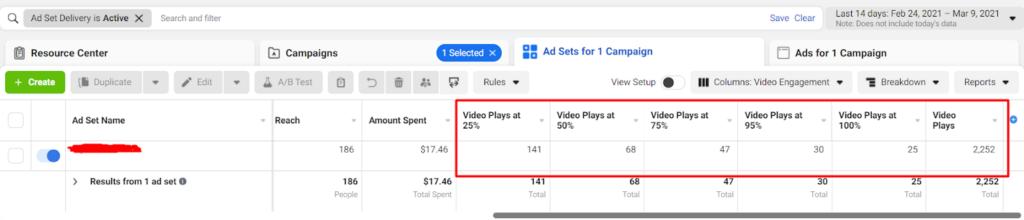 Количество просмотров 25%, 50%, 75%, 95% и 100% видео (рекламный кабинет Facebook)