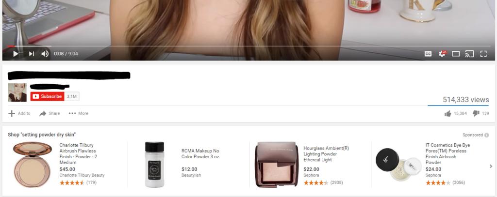 Один из форматов отображения товарных объявлений на YouTube